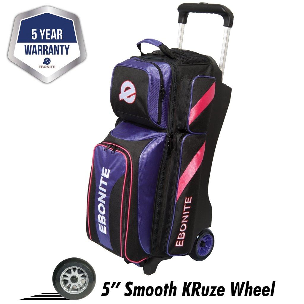 Ebonite Equinox Triple Roller Bowling Bag, Purple/Pink