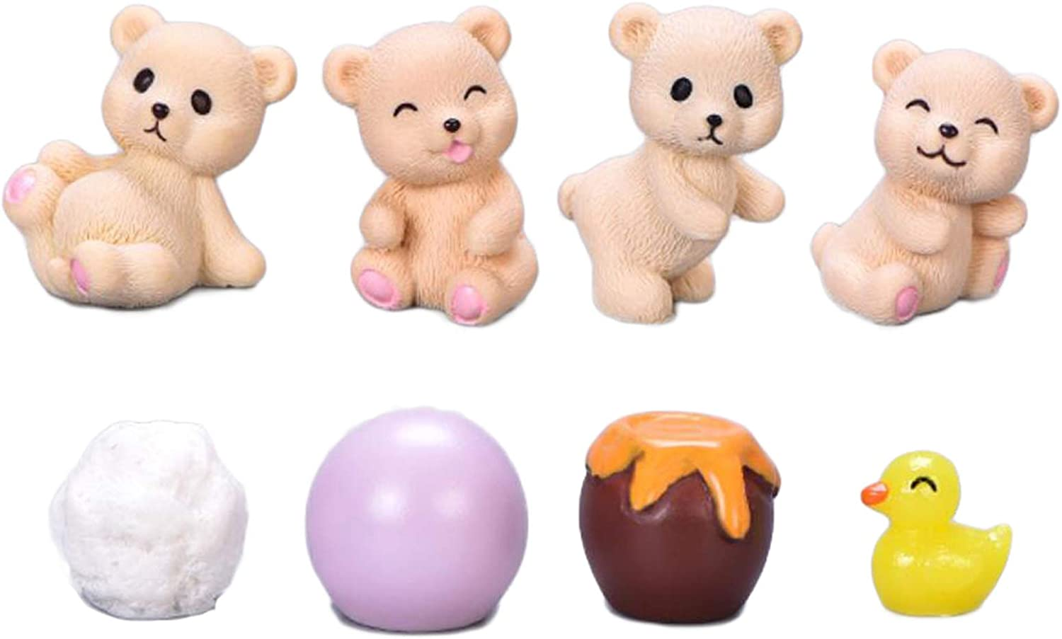 Miniature Bear Figurines, 8 Pcs Mini Bears with Honey Jars Bear Figurines Model Cake Toppers Fairy Garden Accessories for Micro Landscape Plant Flower Pots