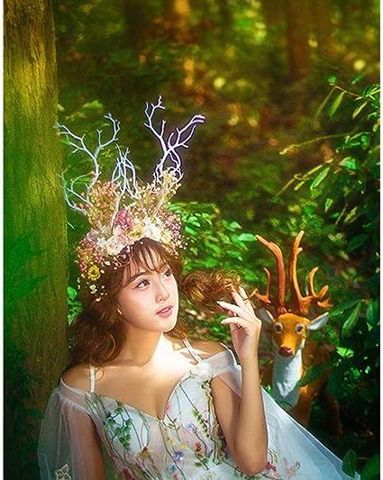 SD Dedo Bosque Hada Witch Elk Antler Diadema árbol Rama Flor Rosas Pelo Loop Hocado Fotografía Props Navidad Cosplay Disfraz Headwear: Amazon.es: Deportes y aire libre