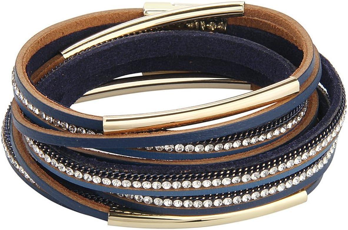 véritable bébé les clients d'abord JAOYU Leather Bracelet Women Rhinestones Charms Bracelets ...