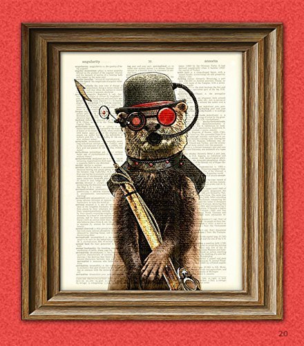Steampunk Otter  Salty  First Mate Of The Below Decks  With Diver Mask And Harpoon Illustration Upcycled Dictionary Page Book Art Print