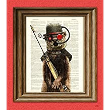 """Steampunk Otter """"Salty, First Mate of the Below Decks"""" with Diver Mask and Harpoon illustration upcycled dictionary page book art print"""