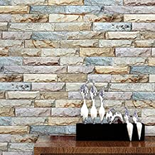Blooming Wall Multicolor 20073 Faux Vintage Brick Stone Tiles Wallpaper Wall Mural for Kitchen Bathroom Livingroom,57 Sq Ft/Roll