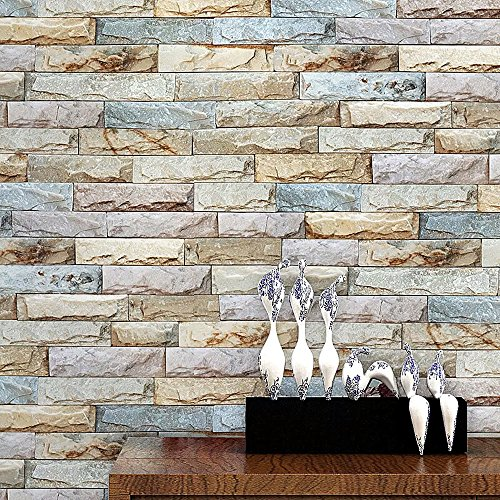Blooming Wall Faux Vintage Brick Stone Tiles Wallpaper Wall Mural for Kitchen Bathroom Livingroom,57 Sq Ft/Roll (20073) (Stone Faux Tile)