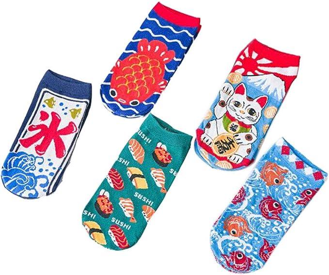 BLANCHO BEDDING Pack de 5 calcetines de estilo japonés calcetines de corte bajo divertidos y novedosos para mujeres y hombres: Amazon.es: Ropa y accesorios