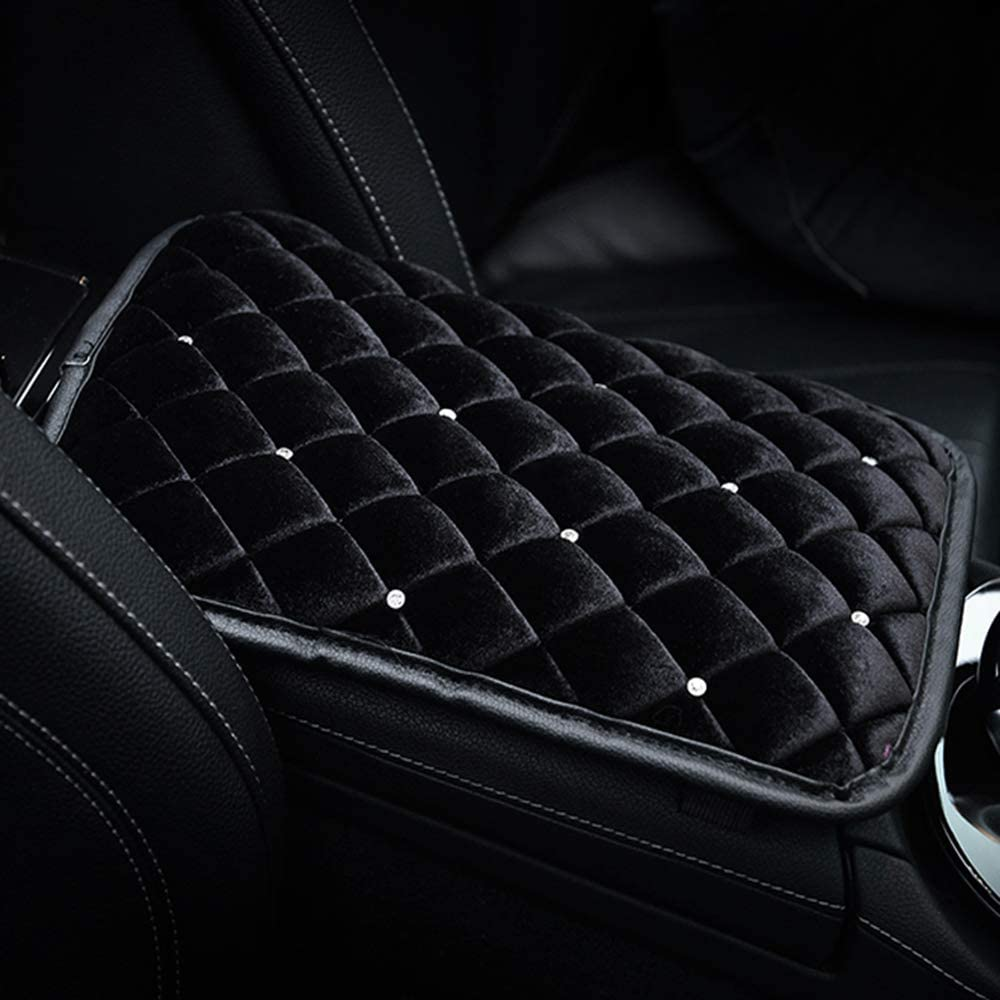 U&M Bling Bling Auto Armrest Console Cushion, Soft Plush Luster Crystal Arm Rest Padding Protective Case Diamond Car Decor Accessories for Women (Black-Plush)