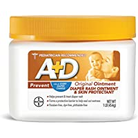 A+D Original Diaper Rash Ointment, Skin Protectant With Lanolin and Petrolatum, Seals Out Wetness, Helps Prevent Baby Diaper Rash, 16 Oz (Pack of 1)