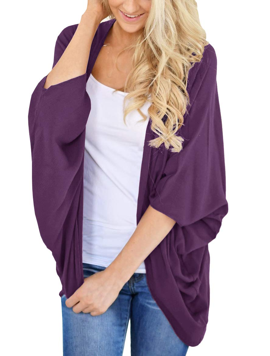 PRETTODAY Women's Basic Solid Color Kimono Cardigans Loose Sleeves Cover ups
