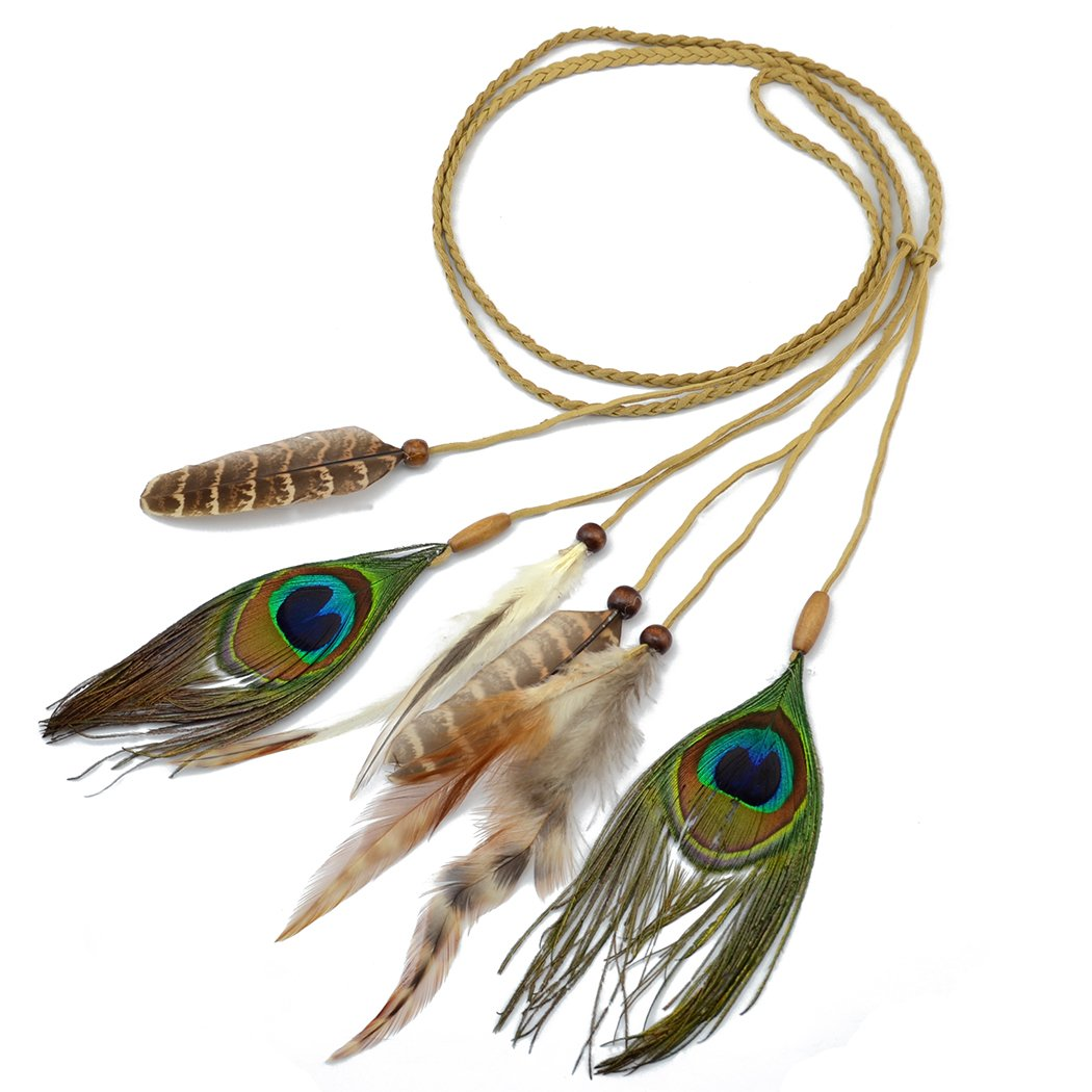 Bohemian Vintage Hemp Rope Chain Resin Beads Peacock Feather Tassel Hairband for Women Jewelry inlove F-0350
