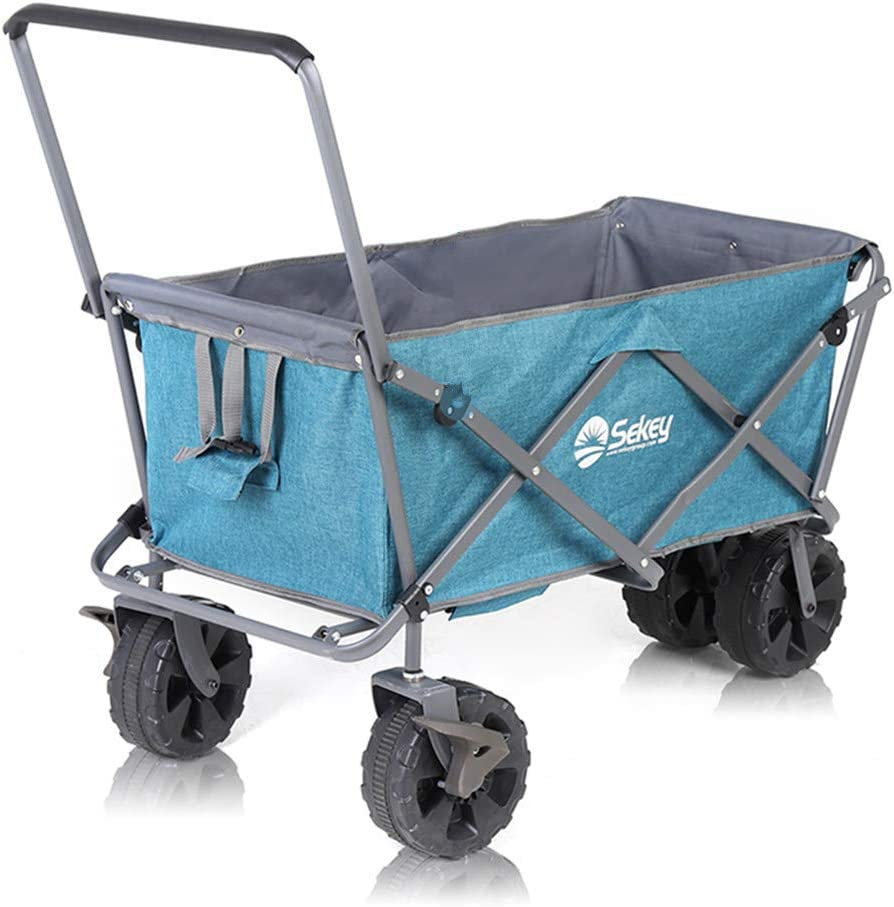 Shozafia Folding Wagons with All Terrain Wheels Collapsible Utility Foldable Outdoor Cart, Garden Camping Wagon, Pull and Push (Standard)