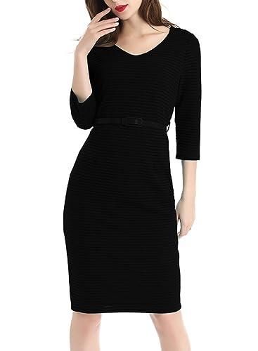 Wellwits Women's V Neck 3/4 Sleeves Mesh Stripes Midi Work Dress