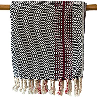 "The Loomia Turkish Towel Clementine Artisan Hand-Loom Series 100% Cotton Grey Towel (Size 37"" X 74"") - CLEMENTINE IS A PREMIUM LIMITED HANDWOVEN TURKISH COTTON ITEM: A wonderful red striped peshtemal that you can use it as a towel, shawl or throw. Anytime and everywhere. ❤️MADE WITH LOVE and INTEGRITY: The Loomia is based in Mount Pleasant, SC and our hand towels were made for you in Turkey. Clementine handwoven towels are made of 100% Turkish Cotton. SOFT, ABSORBENT, QUICK DRYING and DURABLE: Clementine towels are pre-washed, but they still get softer every time you wash them. Like Magic. They are absorbent and fast drying. They are not bulky, and they do not get musty. No More Smelly Towel Syndrome. They are durable and last for a long time. - bathroom-linens, bathroom, bath-towels - 61sHicVwySL. SS400  -"