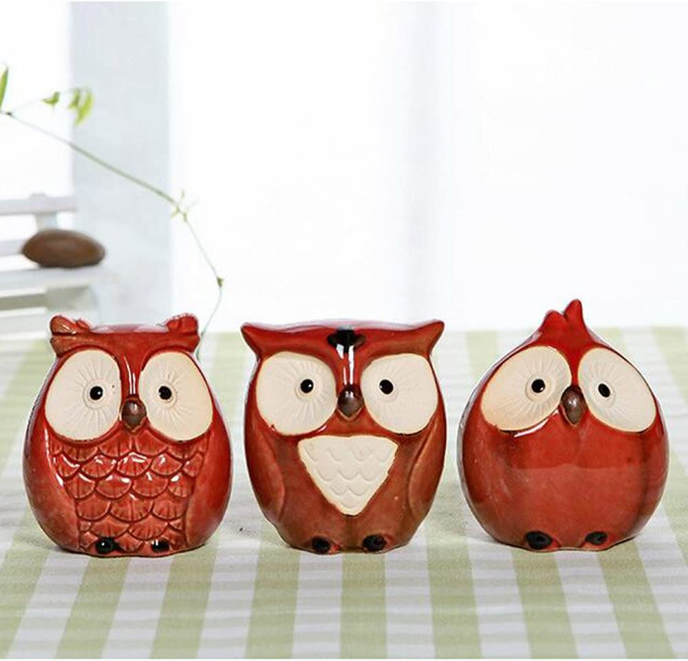 WOMHOPE Set of 3 pcs - Small Wise Owls Figurine House Warming Gift Tabletop Shelf Ceramic Home Decorative Collectible Figurine Statues (Red (Set of 3 pcs))