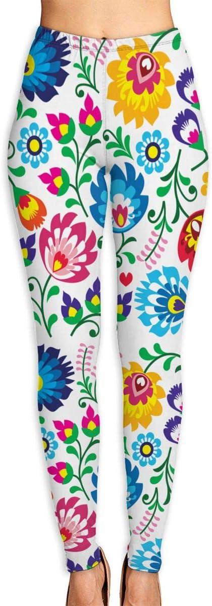 Leggings de Mujer Patrón de Arte Popular Polaco Floral en Pantalones de Yoga Cuadrados para Ejercicio Deportivo Montar a Caballo