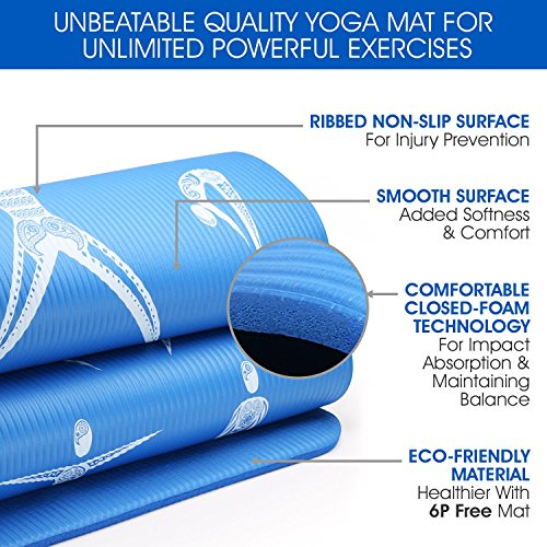 "Yes4All Premium NBR Printed Yoga Mat 1/2 inch (72""x24"") with Carrying Strap – Multi Color Available – Beautiful Designs & Textured Non Slip Surface"