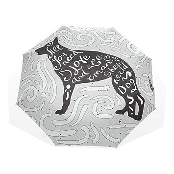 Paraguas de Dibujos Animados para Perro Pastor alemán 3 Pliegues Cierre automático Anti-UV Resistente al Viento Ligero: Amazon.es: Equipaje