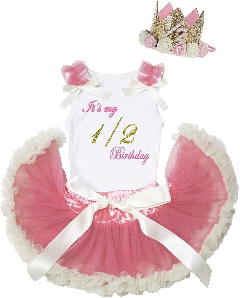 Petitebella Its My 1//2 Birthday White Shirt Dusty Pink Baby Skirt Set 3-12m