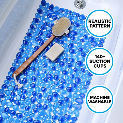 Looks Like River Rocks, 140+ Suction Cups, Machine Washable SlipX Solutions Blue Pebble Bath Mat Feels Great on Tired Feet /& Helps Prevent Slips