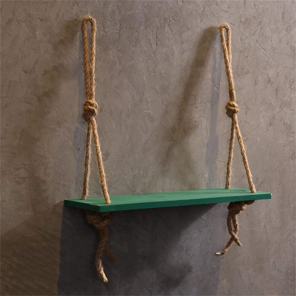Estantes Estantería de pared de madera con cuerda de cáñamo Estantería de pared como estante Estantería de almacenaje Decoraciones de pared Diseño 1 Nivel (Color: azul) ( Color : Verde , tamaño : - )