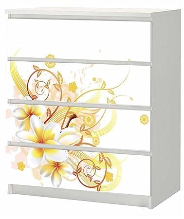 adesivi per ikea malm-cassettiera, 80 x 100 cm, motivo fiori ... - Ikea Adesivi Per Mobili