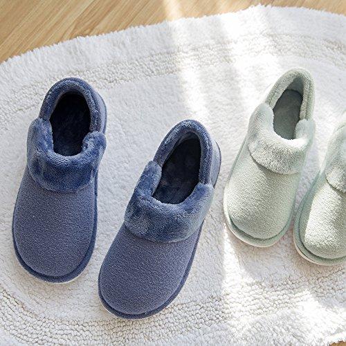 mianshe Heat Warm Ladies Coral Velvet Boot Indoor Slippers Fluffy Plush Men's House Slippers (Low-Top)grey feCwNOVPNR