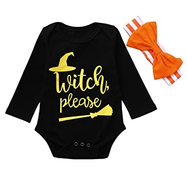 6c80e2043a97 Amazon.com  XUANOU Halloween Baby Long Sleeve Witch Please Letter Printed  Lace Climbing Blouse Bow Hairband 2PCS Romper Stripe Headband  Clothing