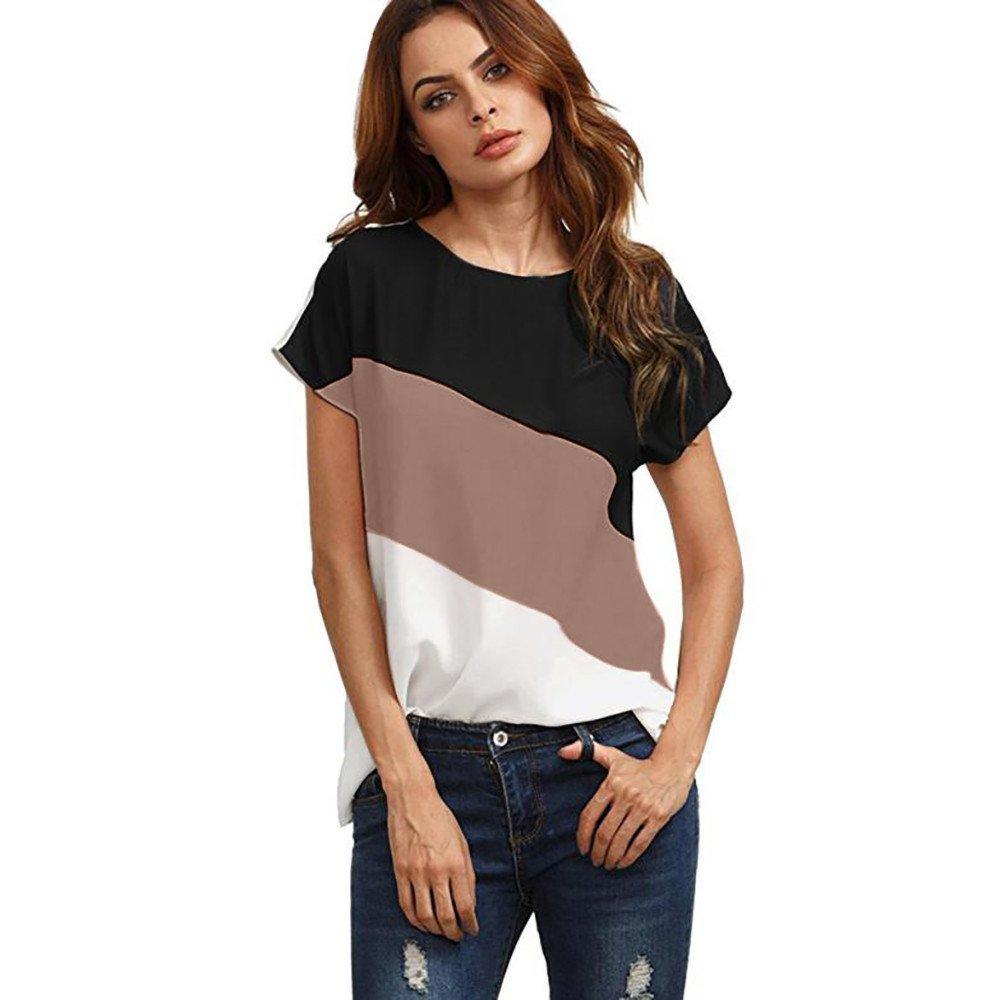 iLOOSKR Summer Casual Women's Chiffon Short Sleeve Contrast Blouse Shirts Tunic Tops(Coffee,XXXL) by iLOOSKR (Image #1)
