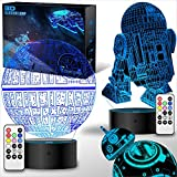 2 Bases Star Wars Gifts 3D Illusion Lamp - Star Wars Toys LED Night Light for Kids Room Decor, 4 Patterns 7 Color Change with Remote Timer, 2019 Cool Gifts for Men Star Wars Fans Boys Girls Birthday