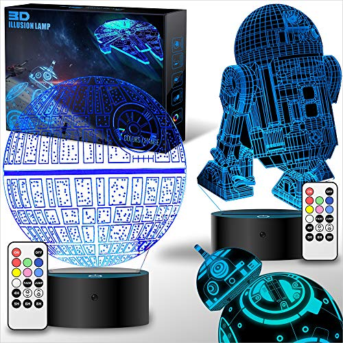 2 Bases Star Wars Gifts 3D Illusion Lamp - Star Wars Toys LED Night Light for Kids Room Decor, 4 Patterns 7 Color Change with Remote Timer, 2019 Cool Gifts for Men Star Wars Fans Boys Girls Birthday ()
