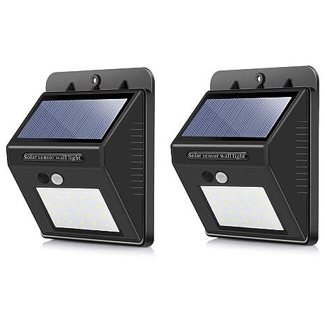 20LEDs Luces Solares para Exteriors, 400 Lúmenes Sensor de Movimiento Super Brillantes con Iluminación Gran