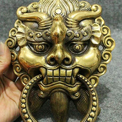 EASTCODE Feng Shui Chinese Bronze Copper Guard Foo Fu Dog Lion Head Statue Door Knocker