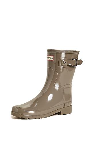 Hunter Boots Women's Original Refined Short Gloss Boots Clay 8 B(M) US