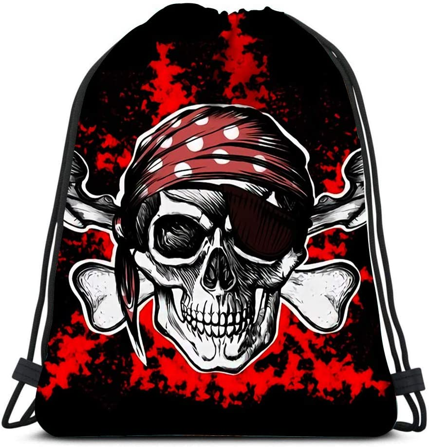 Drawstring Bags Backpack Jolly Roger Pirate Symbol With Crossed Daggers On The Black And Red Travel Backpacks Tote School Rucksack