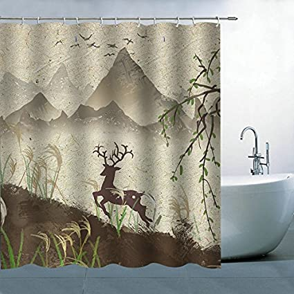 AMHNF Shower Curtain Nature Landscape Theme Vintage Brown Mountain Deer Curtains Hanging 70x70 Inches