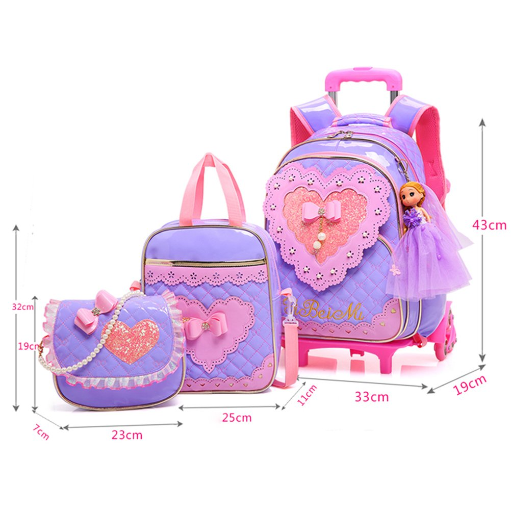 Amazon.com | Zhhlinyuan Waterproof Rolling/Trolley Backpack Girls for School with Wheeled | Kids Backpacks