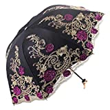 Honeystore Sun Protection Vintage Lace Parasol Decorative Umbrellas for Wedding 3 Folded Black