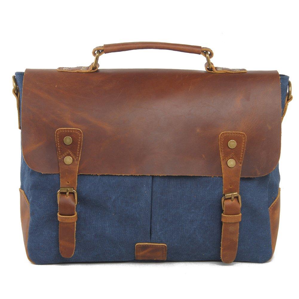 Fresion Multipurpose Vintage Canvas Leather Cross Body Handbag Sling Shoulder Backpack for Men and Women (Blue)