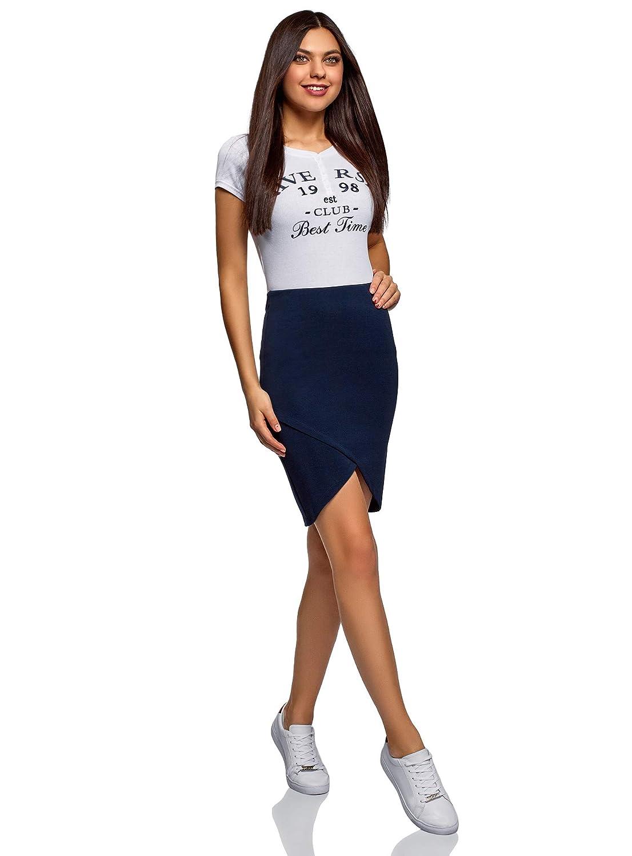 oodji Ultra Womens Jersey Skirt with Asymmetric Hem