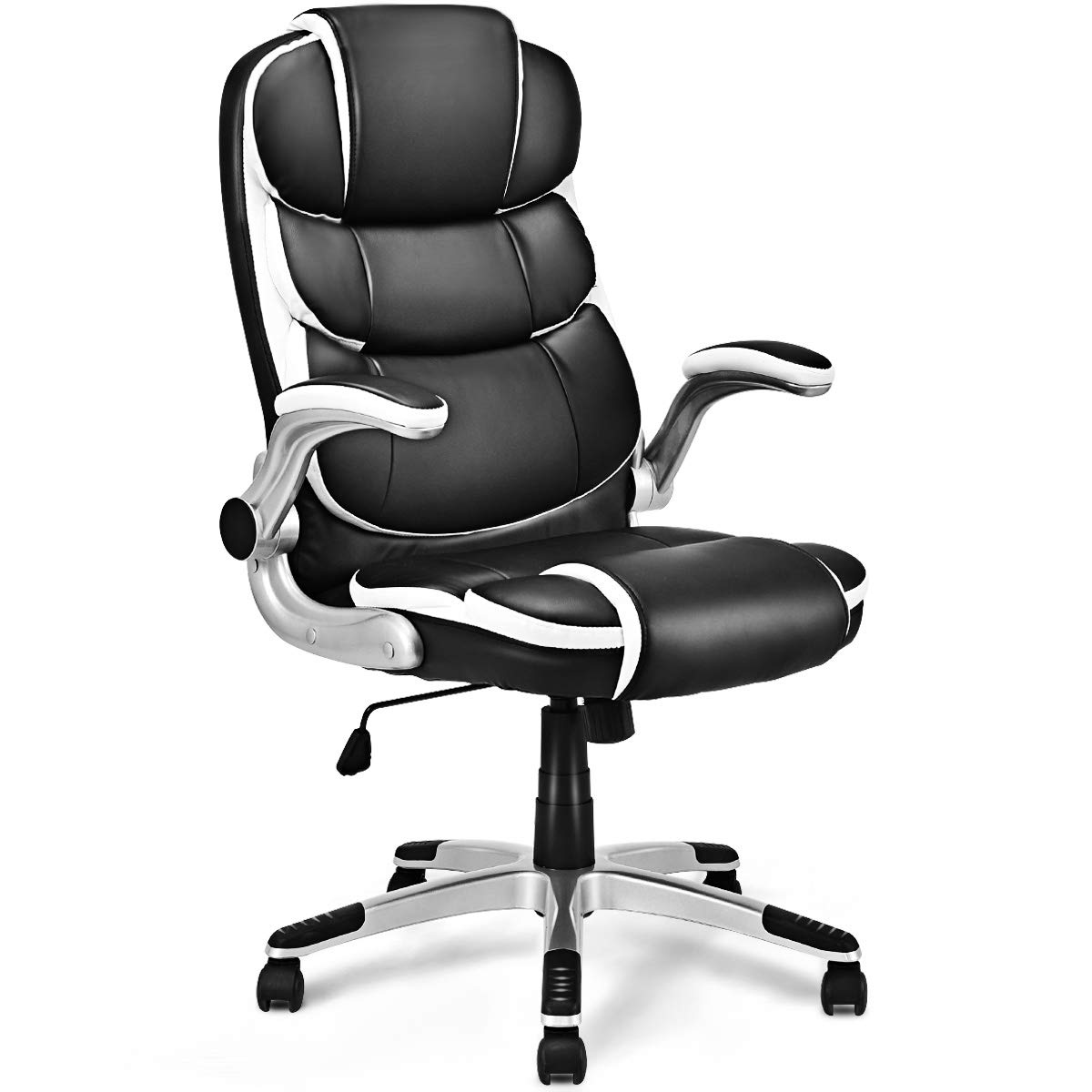 Giantex Executive Office Chair with Adjustable Armrest PU Leather High Back Ergonomic Computer Desk Task Chair, Black