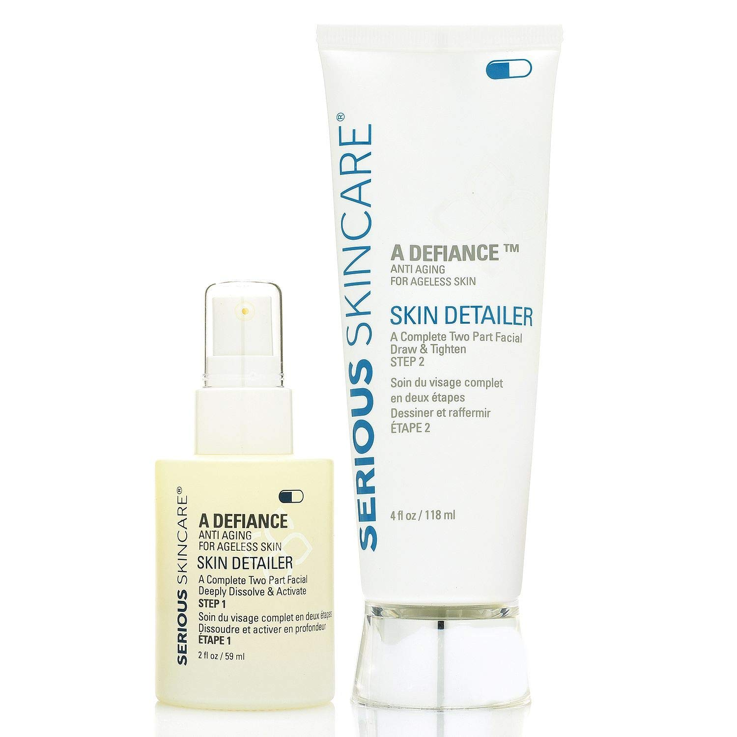 Serious Skin Care a Defiance Anti Aging a Complete Two Part Facial Draw and Tighten ( Skin Detailer Step 1 2. Fl Oz & Skin Detailer Step 2 4. Fl Oz)
