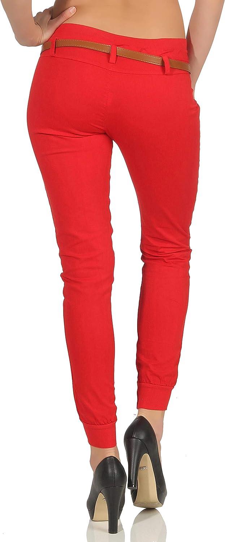Malito Chino-Pantaloni con Cintura di Similpelle Pantaloni Pump Tubo Casuale Base 5396 Donna