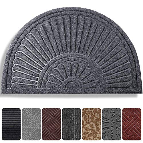 Mibao Half Round Door Mat, Non-Slip Welcome Entrance Way Rug, Super Durable Low-Profile Easy to Clean Front Outdoor Heavy Duty...