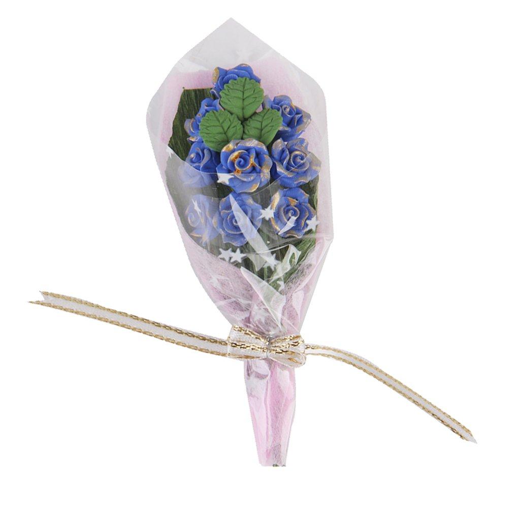 1/12 Arcilla Azul Casa De Munecas En Miniatura Rosa Ramo De Flores Generico JPA15017844