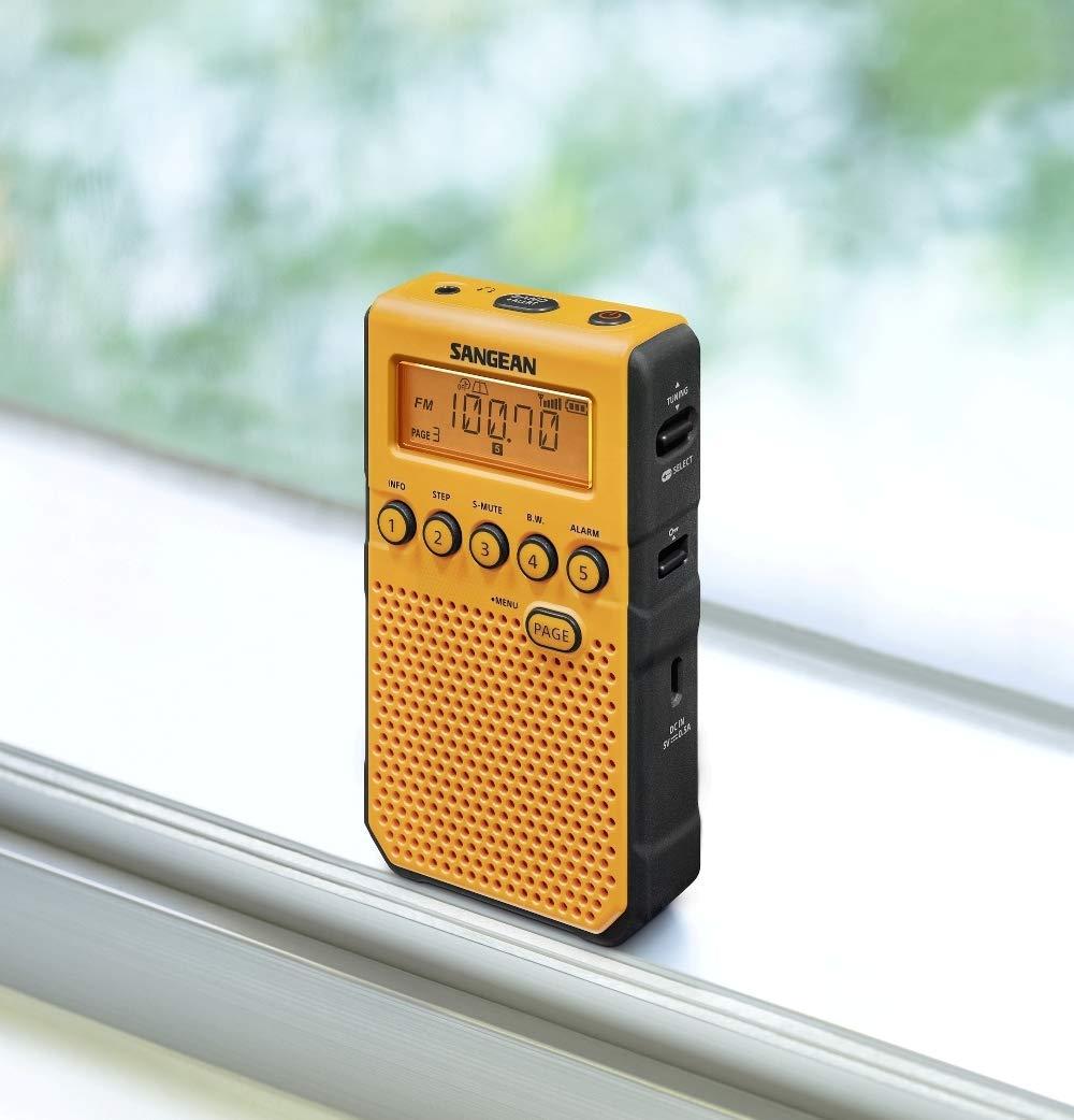 Sangean DT-800YL AM / FM / NOAA Weather Alert Rechargeable Pocket Radio (Yellow) by Saugeen America, Inc. (Image #6)