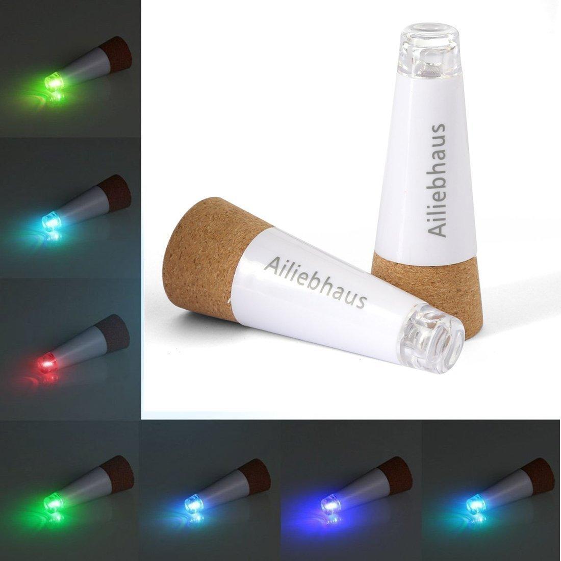 Ailiebhaus 2 Pack Bottle Light LED Wine Cork Light Rechargeable Bottle Cork Light for Wedding Party Decor, White