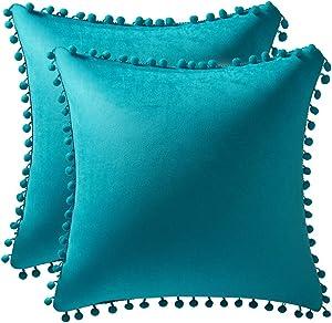 DEZENE Throw Pillow Cases 20x20 Turquoise: 2 Pack Cozy Soft Pom-poms Velvet Square Decorative Pillow Covers for Farmhouse Home Decor