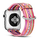 Rykimte Series 3 Watch Band For Apple Watch Sport Band Leather Watch Band for Apple Watch 3 Band (Rainbow Colors 42mm)