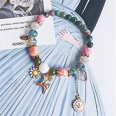 XBJ Pulsera de Mujer, pequeña Pulsera de Corona de Perlas de Ciervos de Piedra Natural Fresca, Pulsera de Cuentas de Diamantes