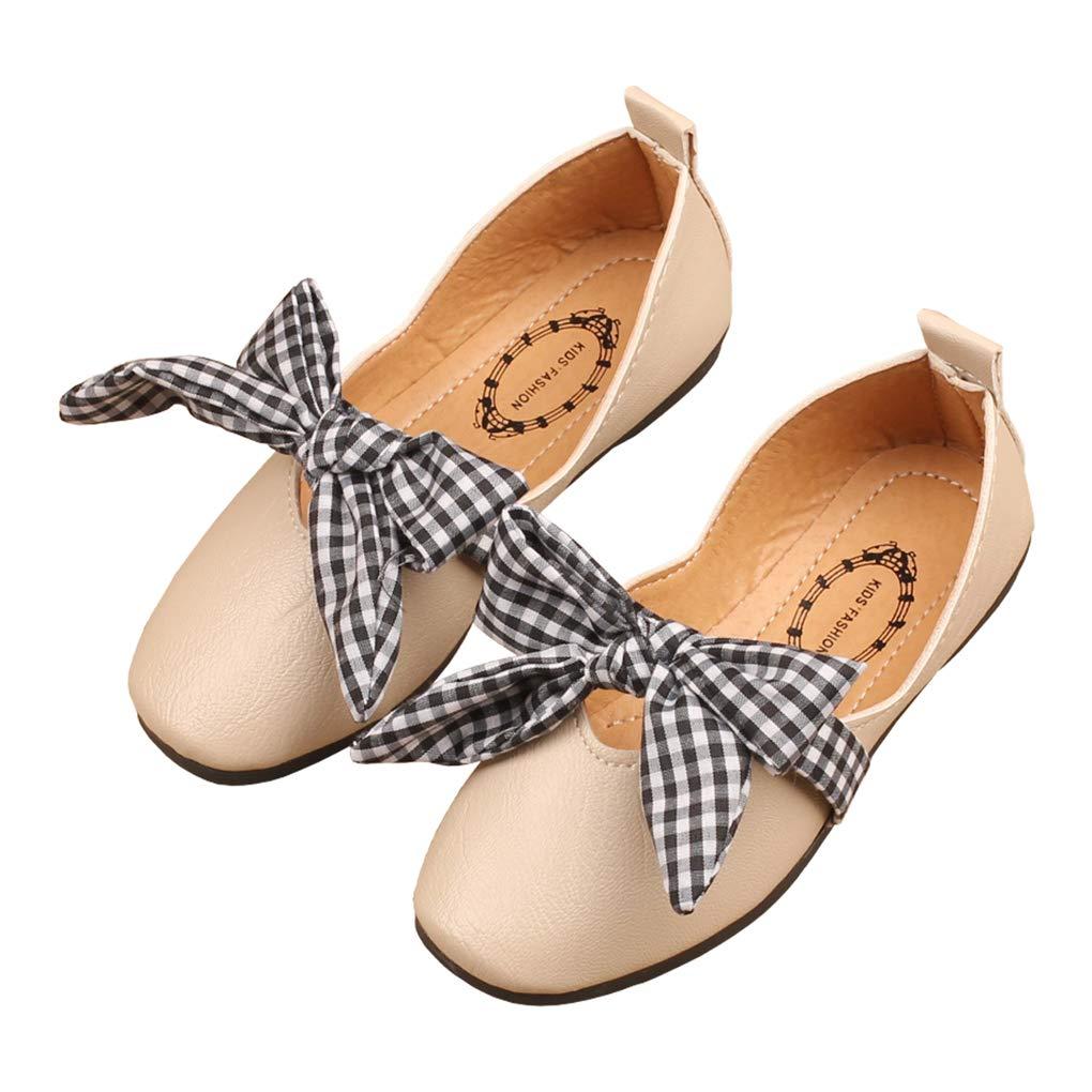 Girls Plaid Bowknot Mary Jane Ballet Flats Slip On Princess Dress Shoes Beige Size 30