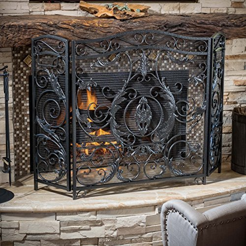 Great Deal Furniture 295447 Mariella Black Silver Finish Floral Iron Fireplace Screen, ()